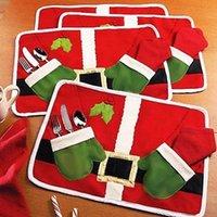 bamboo cutlery - Christmas Decoration Santa Table Placemat Xmas Dinner Party Decor Cute Cartoon Cutlery Holder Mat