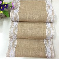 Wholesale 30cm cm Luxury Lace Burlap Table Runner Wedding Party Table Decoration Linen Home supplies Table Runners DHL
