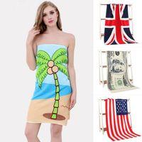 rectangle uk flag - Beach Towel Drying Washcloth Swimwear Shower Towels USA UK Flag Dollar Design Bath Towel Flower Animal Cartoon Print Towels cm F457