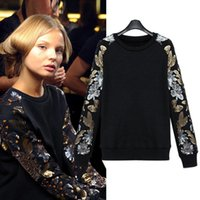 Wholesale European and American big yards women s Autumn wild bottoming shirt Sequin T shirt round neck sweatershirts pounds