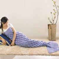 air carpet - Adult Mermaid Blanket Mermaid Tail Sleeping Bag Sofa Blanket Handmade Crocheted Sleeping Bag Mermaid Blanket Air Condition Knit Carpet F147