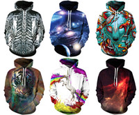 Wholesale 2017 Christmas Santa Newest Men s Hoodies Sweatshirts With Hat Street Fashion Sports D Patterns Print Workout Training Galaxy Print M XL