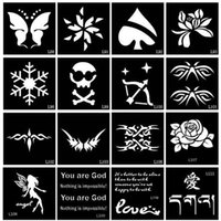 Wholesale Pieces Small AirbrushTattoo Stencil Drawing Painting Glitter Tattoo Stencils For Woman Kids Temporary Henna Tattoo Stickers