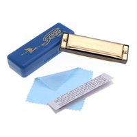 Grossiste Swan Diatonic Harmonica 10 Trous Blues Harpe Mouth Organ Clé de C Reed Instrument avec étui Golden