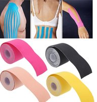 Wholesale pc cm cm muscle Roll Cotton Elastic Adhesive Muscle Tape Bandage Physio Strain Injury Support pain relief patch