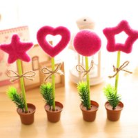 Wholesale Pieces Set Creative Stationery Personality Simulation Plants Ballpoint Pen Lovely Green Potted Landscape Decoration Pen New