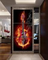 Купить Гитара панель-Unframed Music Art 3 Panel Wall Painting Современные домашние декоры Black Burning Guitar Поп-арт Декорирование картин на холсте Картина Напечатанная коло
