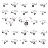 Wholesale Adjustable Jewelry Christams Gift Initial A to Z Charm Wiring Expandable Bracelet Alex and Ani Bangles