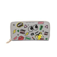 Wholesale Fashion Wallet Cartoon Standard Wallet Women Big Eyes Printing Purse Zipper Card Holder Grey Black White Women Wallets Y