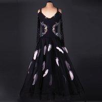 Robe de soirée de dame standard Robe de danse de style de plume de nouveau de salle de bal