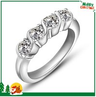 Wholesale Wedding Rings White Gold Plated Women High Quality Jewelry Hot Sale CZ Crystal Three Stone Rings Luxury Brand Stainless Steel Rings