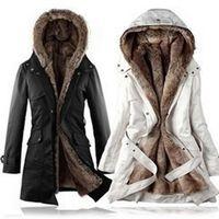 Wholesale 3XL new women s windbreaker jacket european long slim women s windbreaker long sleeved jacket fur thickened Female H104