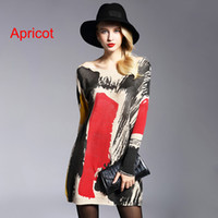 Wholesale Chic Trendy Womens Fashion Baggy Doodles Print Knit Pullover Dress Casual Oversized Crewneck Long Sleeve Sweater Plus Size