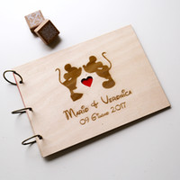 Wedding   wood guest book A4 A5 Mickey Minnie, laser engraved guest book, personalized album Alternative photo album DIY scrapbook