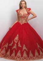 achat en gros de robes de soirée or-Princesse robe de bal or rouge Quinceanera robes avec veste Nouvelle sequin tulle dentelle Appliques vestidos de coing 2017
