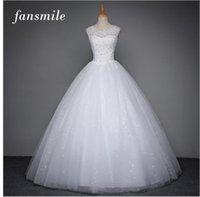 al por mayor envío libre del alibaba-El coreano de Fansmile ata para arriba los vestidos de boda de la calidad del vestido de bola 2017 más el vestido de boda nupcial de Alibaba del tamaño La foto verdadera libera el envío