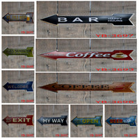 metal arrow coffee - New Arrival Metal Posters Arrows Shaped Beer Bar Pub Coffee Shop Guide Tin Signs Fashion Metal Colorful Plaque Wall Decorations