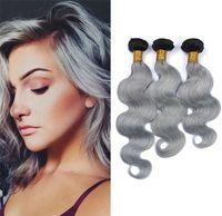 Cheap 9A Grade Peruvian 1B Grey Body Wave Hair Weaves 3Pcs Lot Two Tone Ombre 1B Grey Hair Bundles Human Hair Extensions