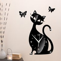 antique cat clock - Fashion Heaven x32cm Cute Cat Mirror Black Wall Clock Modern Design Home Decor Watch Wall Sticker jul