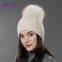 Wholesale Winter Fashion Beanie Classic Tight Knitted Women Cap With Fur Hat The Ball Winter Wool Blend Beanie Headgear Head Warmer