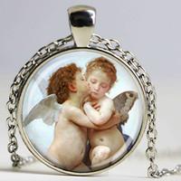 art bouguereau - bouguereau necklace first kiss cherubs angels necklace art jewelry