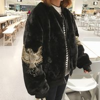acrylic serving - Korea Original Old Easy BF Wind Thickening Embroidery Baseball Serve Schoolgirl Solid Color Show Thin Plush Loose Coat Woman Autumn And Wint