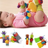 baby foot product - Baby products Fashion New arrival baby rattle baby toys Lamaze plush Garden Bug Wrist Rattle Foot Socks Styles set