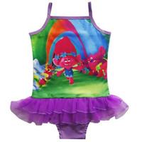 al por mayor traje de baño de una sola pieza con volantes-2017 Stylish 6 estilos Trolls One Pieces Traje de baño para niñas BathNet traje de baño de hilo Niños traje de baño rizado Traje de baño para niños Regalos de cumpleaños