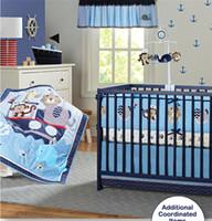 bedding world - American Brand boy crib bedding set cartoon blue Sea world baby quilt set dust ruffle cot set