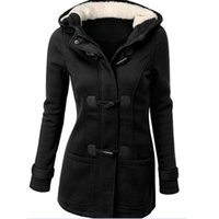 Wholesale Women Cotton Trench Coats Thicken Warm Horn Button Outwear for Winter and Autumn Plain Hooded Cardigan