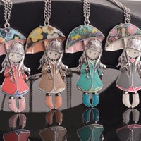 antique doll dresses - Women Umbrella Doll Necklace Jewelry Long Necklace Chain Pendant Women Dress Accessory Enamel Doll Girl Antique Silver Plated