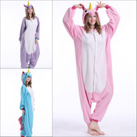 Wholesale 2016 unicorn Adult Fleece Pajamas Animal Onesies Anime Cosplay Sleepwears Halloween Costume Hoodies Unisex Rompers Winter Kigurumi Homewears