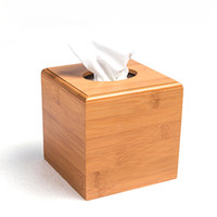 bamboo tissue box - Modern Style Bamboo Square Tissue Box Creative Seat Type Roll Paper Tissue Canister Eco Friendly Wood Table Decor