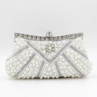 La novia cristalina de la boda del monedero del embrague de la perla de las Mujeres-Al por mayor-Reid rebordeó los embragues moldeados del marco del metal de las señoras del bolso de hombro Bolsas De Noche