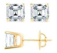 asscher diamonds - Certified Ct Asscher Cut Ladies Diamond Stud Earrings k Gold
