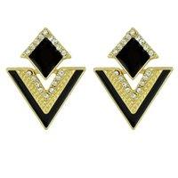 achat en gros de triangle rose boucles d'oreille-Boucles d'oreilles en émail pour bijoux Triangle Brein Brincos Pequenos Design de marque Brincos Pequenos