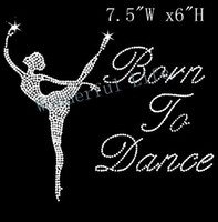 Wholesale born to Dance with a lady Iron On Rhinestone Transfer Design Motif image for garment