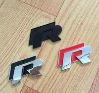 auto accessories bumper - 10PCS Car styling High quality D R Chrome Emblems For VW Golf Black or Red Car Badge Stckers Bumper Stickers AUTO Accessories