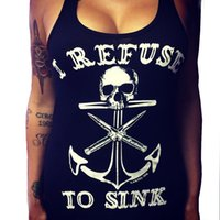 beige sink - Women Fashion Anchor Skull Print Graphic Plus Size Sexy Sleeveless Shirt Femme I Refuse to Sink Letter Print Tank Tops