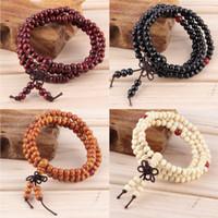 Cheap Wholesale-6mm Natural Sandalwood Buddhist Buddha Meditation 108 beads Wood Prayer Bead Mala Bracelet Women Men jewelry