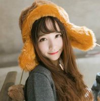 Wholesale Autumn and winter female knitted hat hair ball Plush earmuffs and cashmere wool hat cap Lei Feng warm tide