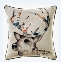 Wholesale New wild reindeer digital print cushion cover black piping sofa bedding decoration square pillowcase drop shipping