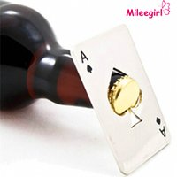 Wholesale Stainless Steel Bottle Opener Bar Cooking Poker Playing Card of Spades Tools Mini Wallet Credit Card Openers For Beer