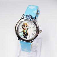 Unisex anna watch - 100pcs Rhinestone Crown Frozen Wristwatches Elsa Anna Children watches Cartoon watches White Snow Pattern Leather Band Quartz Watch WR042