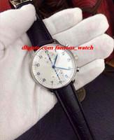 al por mayor hombres moda portuguesa-Nuevo reloj de cuero portugués del cuarzo del cronógrafo de Bracele del cuero de la manera 371446 Reloj de los hombres
