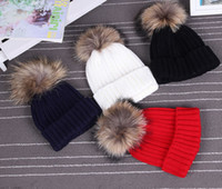 Wholesale Autumn And Winter Female Solid Color Beads Oversized Raccoon Fur Ball Knitted Hat Baseball Cap Wool Hat Leather Hat Women