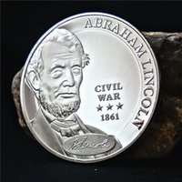 abraham lincoln art - USA President Abraham Lincoln Civil War Silver Plated Commemorative Coin