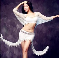 belly dancer costume set - 2 Piece Sexy Two Way Wear Dress Dancer Costume Set Mesh Top amp Irregularity Skirt Women Stage Show Clothes White L
