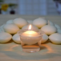 Wholesale round white floating candle Disc floater candles wedding party home decor HJ051