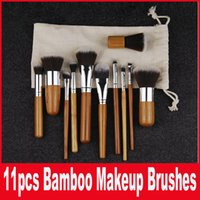 11pcs/set bamboo wood shades - Makeup Brushes Make up Wooden Bamboo Professional Cosmetic Brush Kit Fiber Hair With Draw String Bag Eyeshadow Foundation Shade Tools